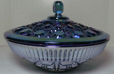 "Vintage Indiana Carnival Glass Blue Lidded Candy Dish - 7 1/2"" Dia X 5"" Tall"
