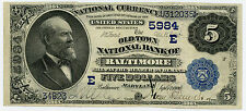 $5 National Currency Old Town National Bank Baltimore MD