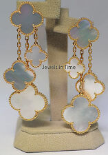 Van Cleef & Arpels Magic Alhanbra 4 Motif Earrings 18k Gold & MOP VCA ARD78900