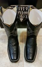 WHITE DIAMONDS BOOTS MEN'S SQUER TOE BLACK BOOTS  SIZE 9.5 WESTERN,COWBOY,RODEO