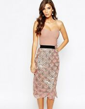Rare London Nude Pink Rose Gold Bodycon Sequin Bandeau Embellished Midi Dress 8