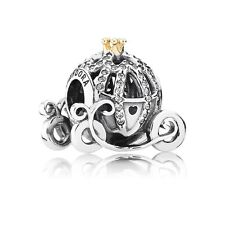 Authentic Pandora Silver 14K Disney Cinderella Pumpkin Coach Charm Bead 791573CZ