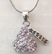 Lavender Crystals  Chocolate Hershey Kiss Pendant Necklace