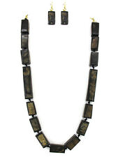DARK SQUARE BEAD BUFFALO HORN KNOTTED CORD NECKLACE SET NATURAL JEWELRY HANDMADE