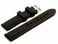 20mm Black Rubber Red Stitching Replacement Watch Strap - Swiss Wenger 20mm
