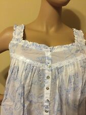 Eileen west nightgown  100% Cotton   all over embroidery Medium  blue / white