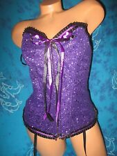 nwot Frederick's of Hollywood Dream Bright Glitter Purple Glittery Lace Corset L