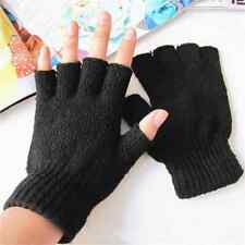 Men Women Stretch Knitted Gloves Fingerless Winter Warmer Mittens Black PAIR New