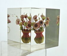 VINTAGE LUCITE CUBE PAPERWEIGHT W/ DRY FLOWER BOUQUET IN WOOVEN BASKET