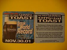 Beer Coaster ~ Great Guinness Toast ~ November 30 2001 ~ Break The World Record