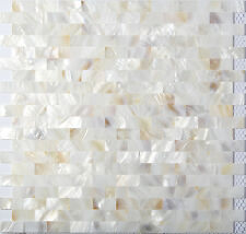 Freshwater Shell Mother Of Pearl Tile Natural White Interlocking Chips Wall Deco