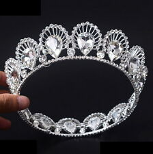 4cm High Adult Full Crystal Drip Wedding Bridal Party Pageant Prom Round Crown