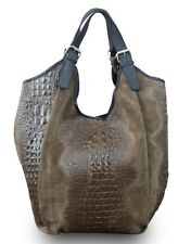 Made in Italy Ladies Bag XL Shopper Real Leather Alligator Stamping Brown