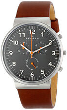 Skagen SKW6099 Ancher Grey Dial Brown Leather Strap Chronograph Men's Watch