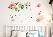 Wall Stickers Roses Vines and Motifs in Pink Romantic Bedroom Design