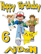 CUSTOM PERSONALIZED POKEMON PIKACHU BIRTHDAY T SHIRT PARTY FAVOR ADD NAME & AGE