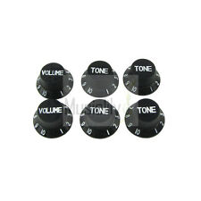 Musiclily 2 Volume & 4 Tone Plastic Control Knob For Fender Strat Guitar Black