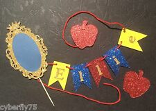 Personalised Cake Bunting AND Mirror - cake topper for Snow White PARTY