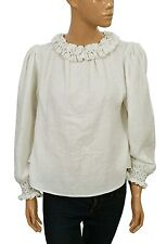 122357 New White Chocolate Long Sleeves White Ruffled Cotton Blouse Top M