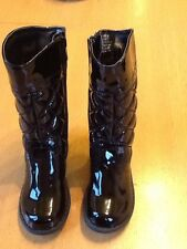 BNWT M&S GIRLS BLACK SHINY FULL LENGTH BOOTS SIZE INFANT 6, EUR 23
