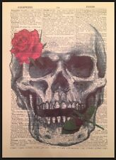 Skull Skeleton Wall Art Vintage Dictionary Page Print Picture Rose Gothic Rock