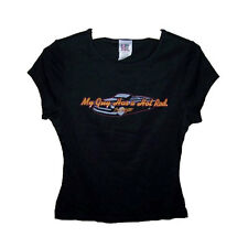 Ladies T-Shirt Novelty My Guy Has A Hot Rod Black Car Funny Size Large