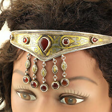 Handmade Tribal CROWN  Real Sterling 925 SILVER Carnelian Stone GOLD Wash 619j2