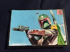 TOPPS STAR WARS GALAXY SKETCH CARD KYLE BABBITT BOBA FETT FULL COLOR PAINTING!!!