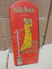 "Hills Bros Thermometer Antique WOOD 1915 By Expert Hardware Intact Lg 24""X 9"".3"""