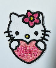 4 pcs Lovely Hello Kitty Pink Love Embroidery Iron on Patches Clothes / Sew #2