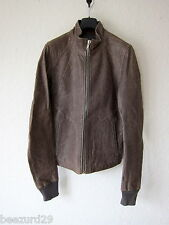 *NEW* RICK OWENS DEADSTOCK INTARSIA HAMMERED LAMB LEATHER JACKET (DRKSHDW SMALL)