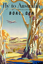 Art Ad FLY TO AUSTRALIA  BY CONSTELLATION BOAC  Travel  Poster Print