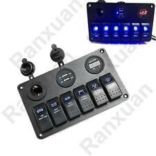 6 Gang Waterproof Rocker Switch Panel Breaker LED Car Marine Boat Circuit USB