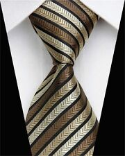 PRICED TO CLEAR! Mens Skinny Retro Triple Stripe Silk Necktie Tie Gold