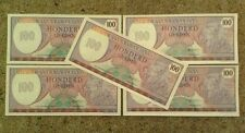 Set Of 5 X Suriname Banknotes. 100 Gulden. Uncirculated. Pick 128B.