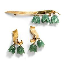 Vintage set: broche & orejas de oro & Jade clips Campanula bellflowers 桔梗