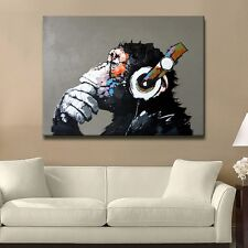 Modern Abstract Huge Wall Art Oil Painting on Canvas No Stretch: Musical Monkey