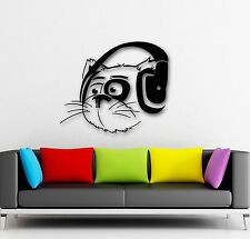 Wall Stickers Vinyl Decal Funny Cat in the Headphones Music Animal (ig681)