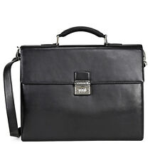 Montblanc Cashmere in Leather Single Gusset Briefcase - Black