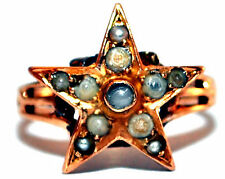 Antique Victorian 10K Solid yellow Gold and Natural Pearls Star Ring Size 2.75