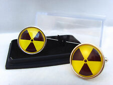 RADIOACTIVE RADIATION SYMBOL HAZARD WARNING NUCLEAR BIO ATOM MENS CUFFLINKS