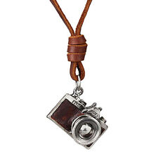 Fashion Retro Metal Camera Long Pendant Leather Cord Mens Womens Necklace Brown