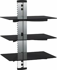 Floating TV Shelf Wall Mounted 3 Large Glass Shelves for Sky Box DVD - Silver