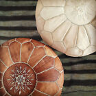 2XPREMIUM LEATHER MOROCCAN POUFFE LIGHT TAN,OTTOMAN FOOTSTOL CHRISTMAS GIFT IDEA
