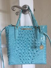 Brahmin Harrison Carryall Tote Crossbody Aqua Glass Glossy Melbourne Leather