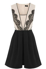 BNWT OASIS LACE TRIM STRUCTURED SKATER DRESS SIZE 10 RRP £89
