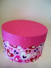 8 IN RED WHITE PURPLE PINK GLITTER CUPCAKE VALENTINE'S DAY CONTAINER DECORATION