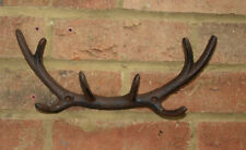 Stag Antler Hook Buck Deer Cast Iron Wall 4 Coat Rack Metal Hall 29 cm New