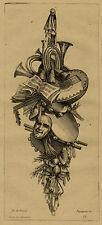 Delafosse Décoration Attributs Musique Theatre Gravure XIXème siècle Péquég