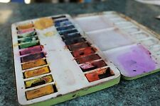 Old Vintage AD Watercolour Paint Set Feinste Schul Farben in Litho Tin Box